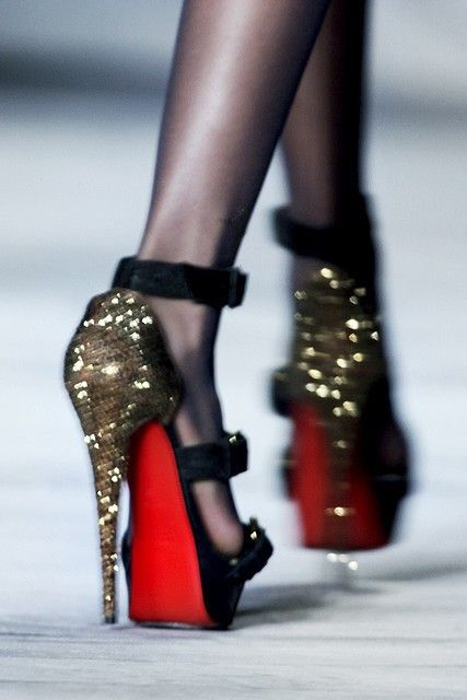 Black and Sparkle Gold High Heels