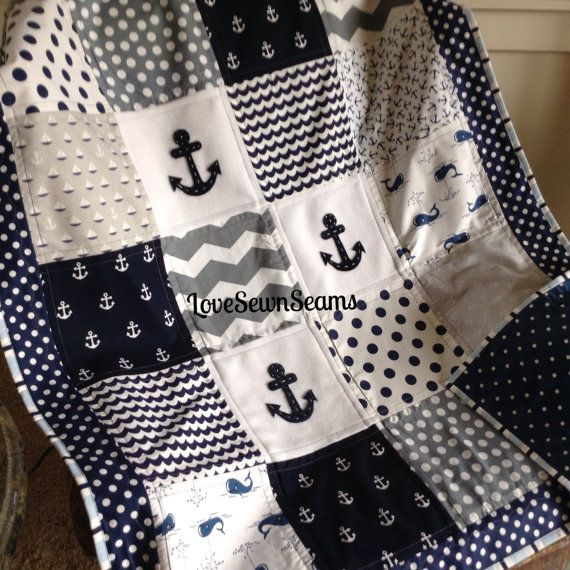 Anchor and Whimsical Whale quilt in Navy Gray & by Lovesewnseams
