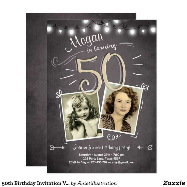 50th Birthday Invitation Vintage Fifty Birthday
