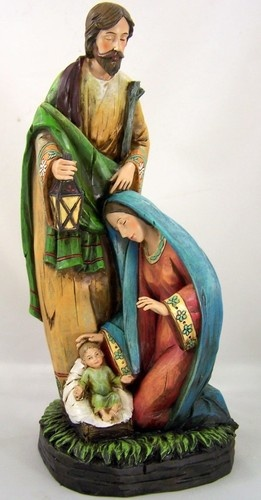 "Large 13"" Wood Inspired Holy Family Nativity Set Statue Figurine Figure"