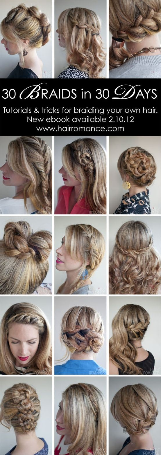 """30 Braids in 30 Days"" is an ebook made available through hairromance.com, and is a collection of braided hair styles ranging from basic to very elaborate styles. The book includes pictures, tips and step by step tutorials."