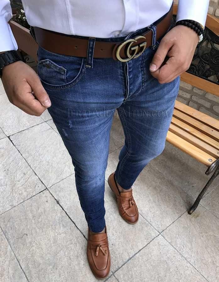 İtalyan stil slim fit likralı mavi erkek pantolon T1724