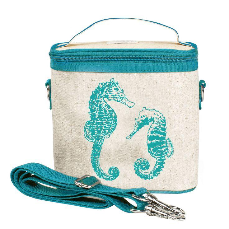 RAW LINEN - Aqua Seahorses Small Cooler Bag