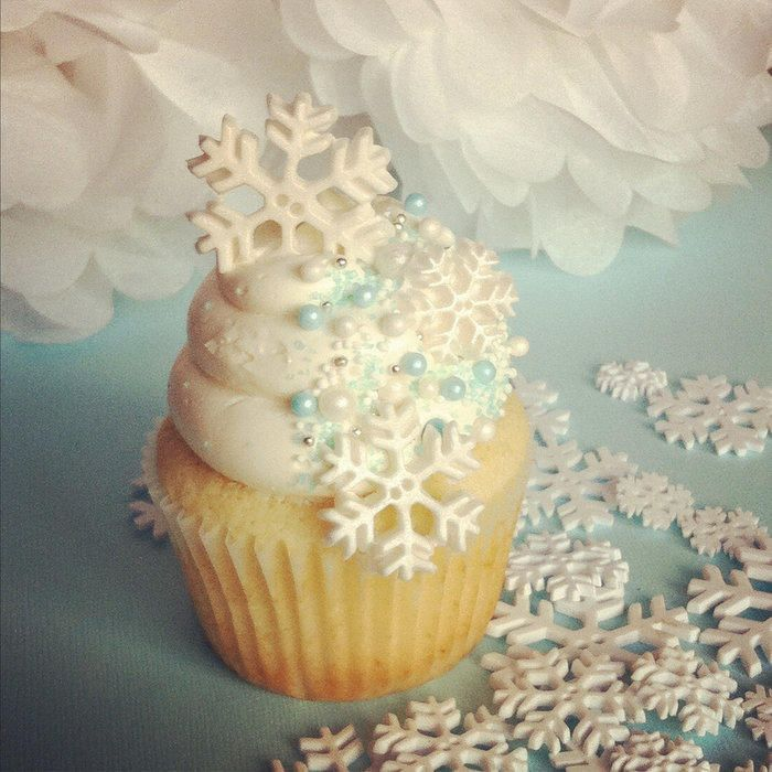 Winter themed cupcakes made for a client. Sweet vanilla cake with vanilla SMBC topped with sugar pearls, sprinkles, colored sugar and fondant snowflakes.