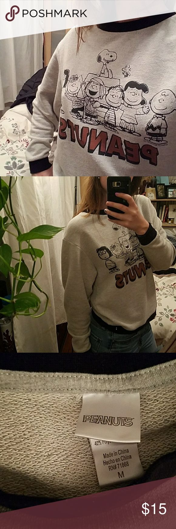 Peanuts! Graphic sweater Peanuts brand sweatshirt. Liteweight but comfortable and cute. Super nostalgic. Good condition but light pilling. Peanuts Sweaters