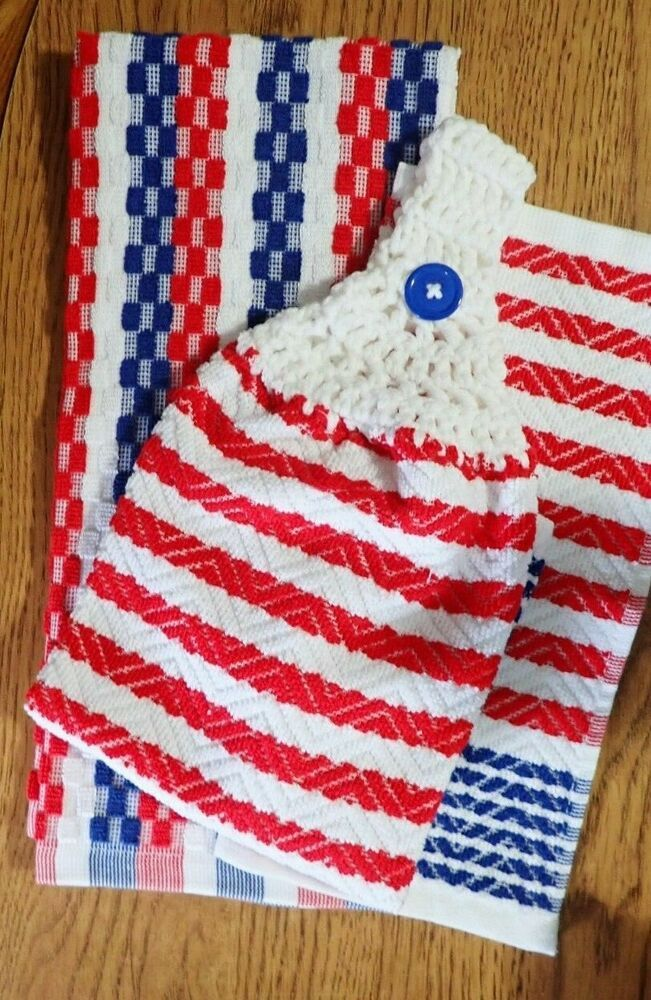 Handmade Crocheted Kitchen Towel Set Red White And Blue