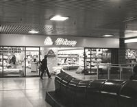 Interior of the Broad Marsh centre Nottingham showing Witney's and a wooden caterpillar for children