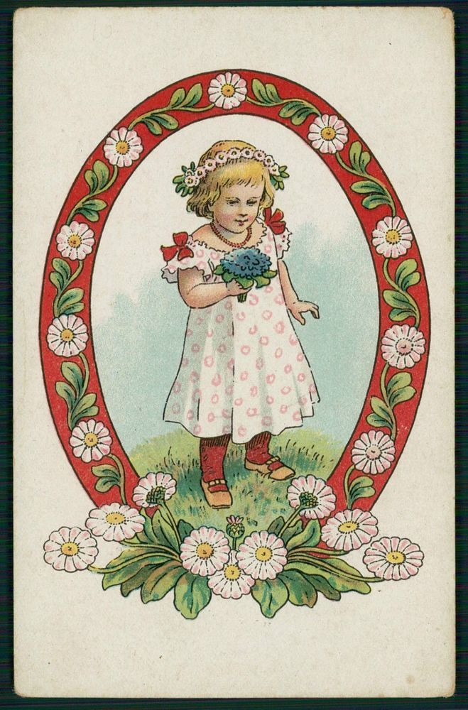 unsgn Art Nouveau Child Girl Flower original old 1910s postcard
