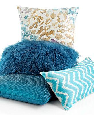 "INC International Concepts Turquoise Sequin 18\"" Square Decorative Pillow"