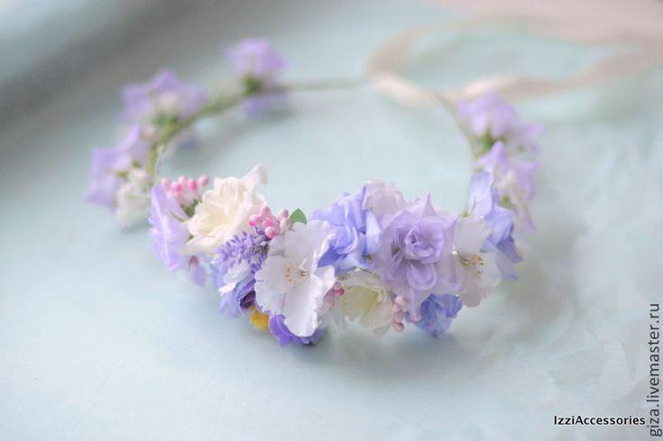 Купить Венок с нежно сиреневыми цветами Цветочное поле - сиреневый, сиренево-розовый, нежные цвета
