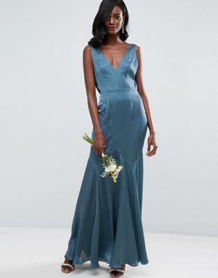 ASOS WEDDING - Vestito lungo premium con scollo ad anello drappeggiato sul retro