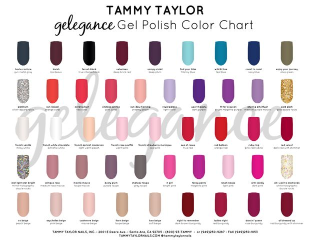 "♥ Tammy Taylor Product Spotlight ""Gelegance"" Gel Polish Color Chart"