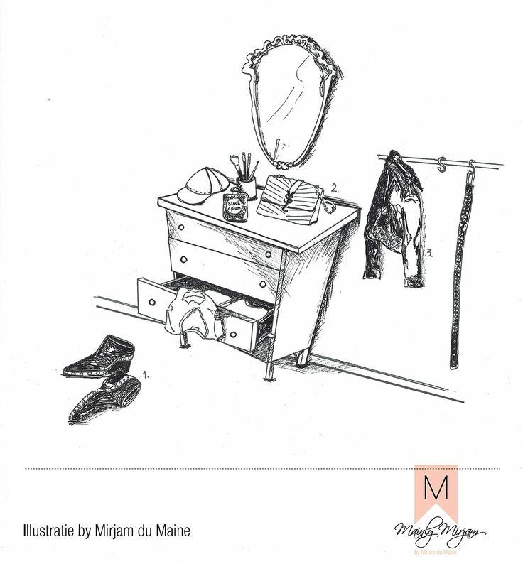 #ELLEtekenwedstrijd #illustratie #aquarel #pentekening made by #MirjamduMaine Roxanne's #kleedkamer met haar favoriete merken #parfume #YSL #yvessaintlaurent #tas #schoenen #celine #mode #color #interieur #styling #madewithloveintheheartofholland #stijlretaildesign #mainlymirjam