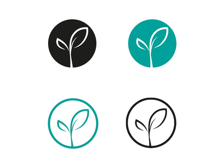 sprouting leaf logo design with variations