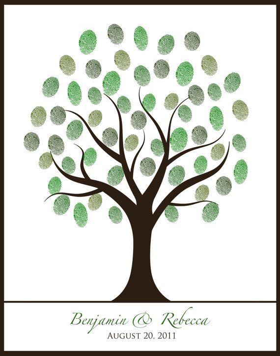 summer spring autumn fall winter wedding 16x20 fingerprint thumbprint guestbook tree printable diy via Etsy