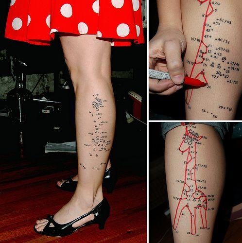 This tattoo is waaaay ballsier than I am. I'll stick with my nerdy key/paw/book tats, thanks.: Tattoo'S Patterns, Tattoo'S Idea, Tattoo'S Design, Giraffes Tattoo'S, Dots Tattoo'S, Awesome Tattoo'S, Cool Idea, A Tattoo'S, Connection The Dots