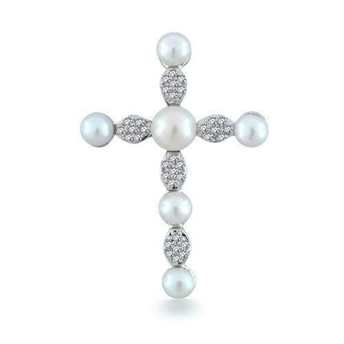 Bling Jewelry Sterling Silver Micro Pave Freshwater Pearl Cross Pendant
