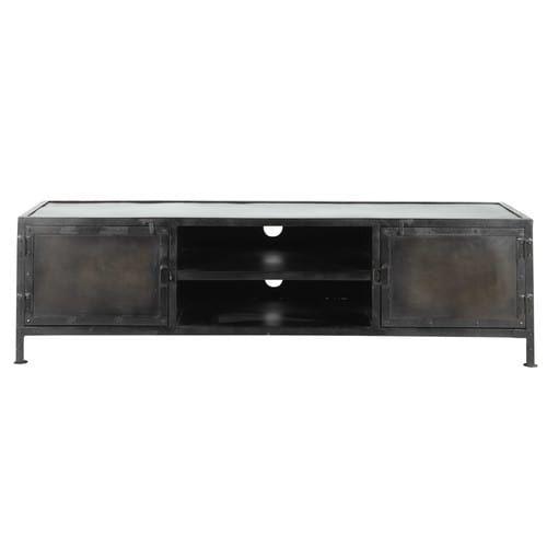 TV-Lowboard im Industrial-Stil aus Metall schwarz B 150cm
