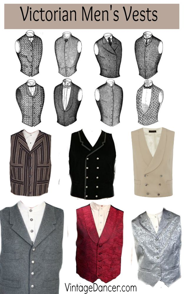 Victorian men's vests and waistcoats. All styles, all budgets. Shop at VintageDancer.com/Victorian