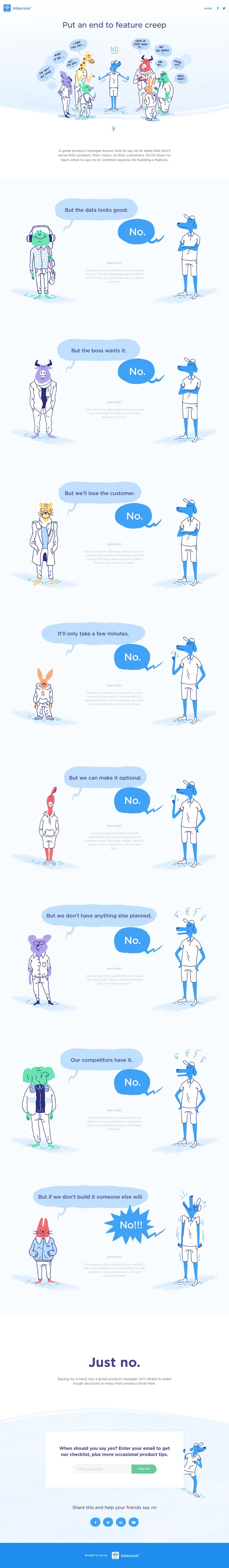 Responsive One Pager with some fun illustrated animals encouraging an end to feature creep and bad feature requests. Neat little bit of marketing this by Intercom.