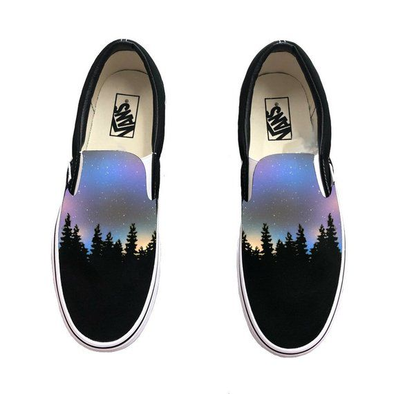 Custom Hand Painted Galaxy Slip On Vans Nebula Outter