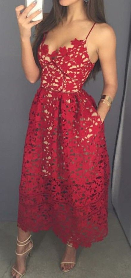 red lace dress.