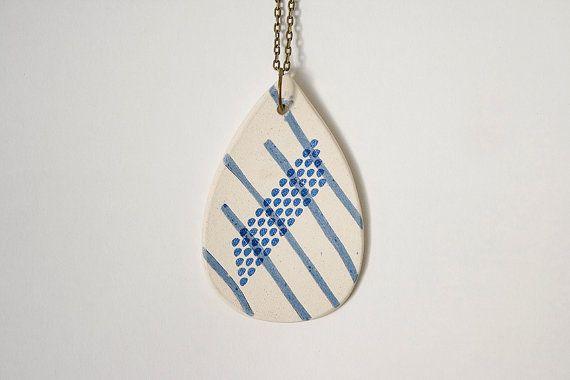 Modern Jewelry. Drop of Rain Pendant. Unique Stoneware