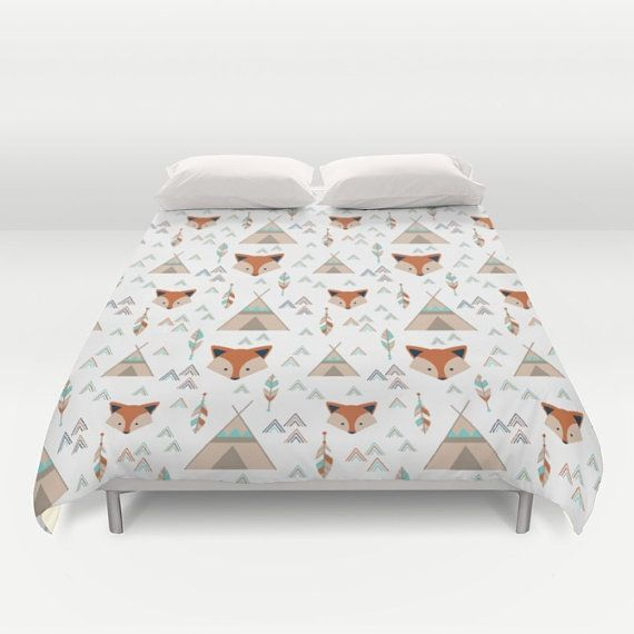 Fox Say, Fox and Teepees, Feathers Kids Duvet Cover, All Sizes Available, Orange, Mint, Teal, Taupe, Gray, Navy Big Boy Bedding