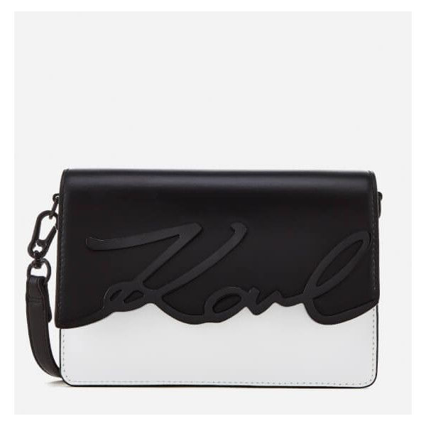 Karl Lagerfeld Women's K/Metal Signature Shoulder Bag - Black/White ($350) ❤ liked on Polyvore featuring bags, handbags, shoulder bags, shoulder hand bags, black and white shoulder bag, shoulder bag purse, metal purse and shoulder handbags