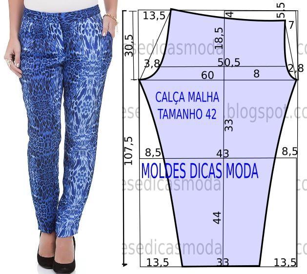 O molde da calça justa fácil não tem valor de costura. Este molde de calça favorece todo o tipo de corpos.