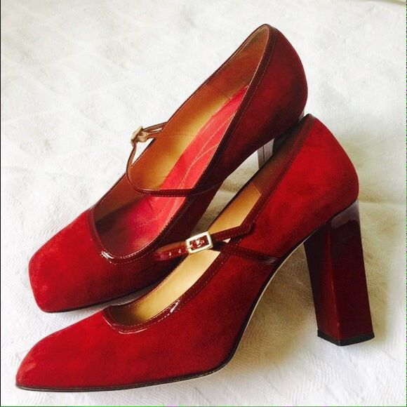 HP 10/25 Kate Spade Red Leather Suede Heels Gorgeous! **wearing on the heels scuffs and dings (shown in 2nd and 3rd picture). They are a beautiful deep red color, with a 3 1/2 inch heels. True to size. 15. Photo credit to Google Images. Price is firm unless bundled :) kate spade Shoes Heels