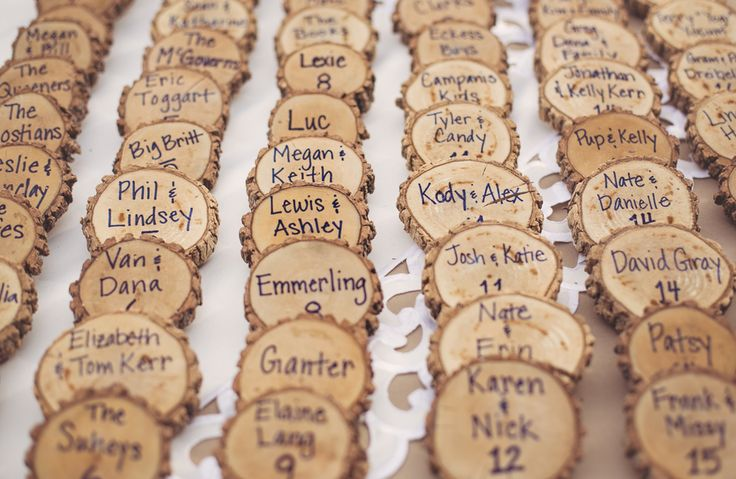 Loving these escort card alternatives! Misty & Nic: Mount Acres Lodge Rustic Glam Wedding