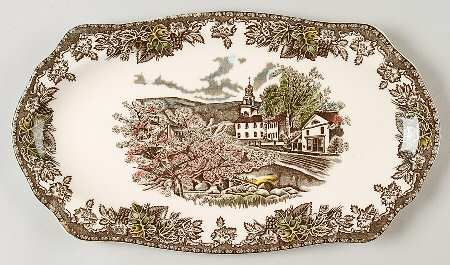 "12"" Sandwich Tray in the Friendly Village, The (""made In England"" pattern by Johnson Brothers"