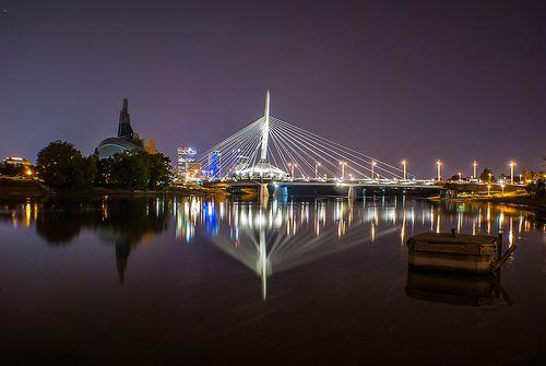 Provencher Bridge and Red River, Winnipeg, Manitoba, Canada. Photo by Michael Cerilo.