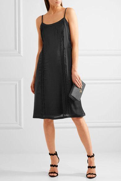 Prada - Lace-paneled Silk Dress - Black - IT40