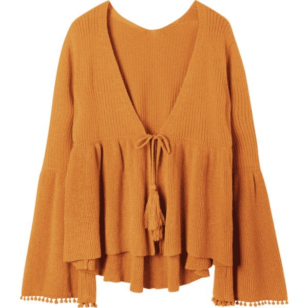 Plus Size Flare Sleeve Tassel Tie Up Cardigan (418.830 IDR) ❤ liked on Polyvore featuring tops, cardigans, plus size brown cardigan, bell sleeve cardigan, tie top, gold top and brown cardigan