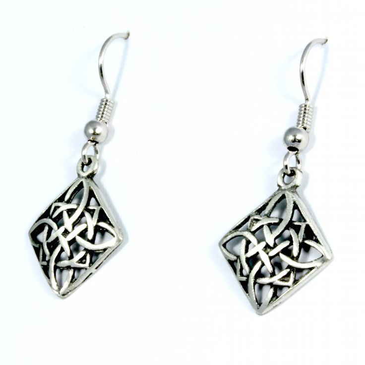 Celtic Quaternary Knot Pewter Drop Earrings