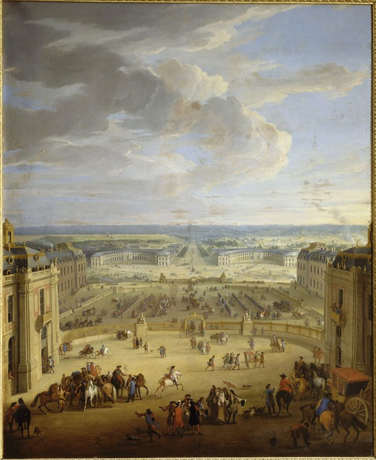 Les Ecuries vue du château de Versailles, prise de la cour de marbre.