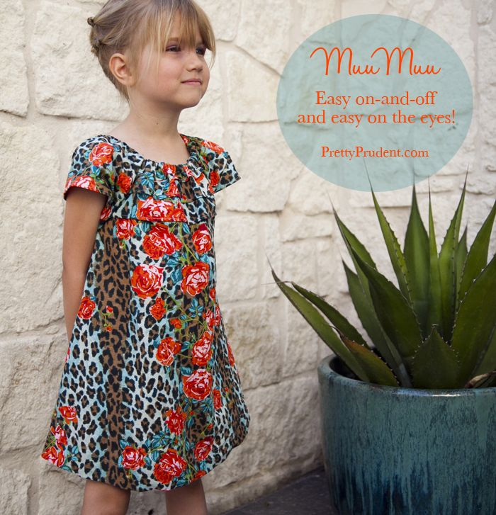 No zippers, no buttons, no worries! This easy muumuu dress is perfect for little girls for spring and summer. Free pattern and step-by-step tutorial from Pretty Prudent.