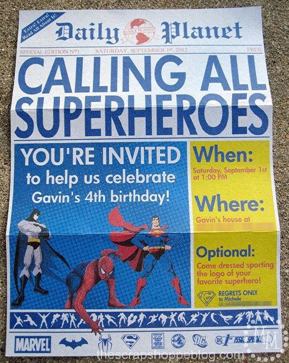 Superhero Newspaper Custom PRINTABLE Birthday by MMScrapShoppe