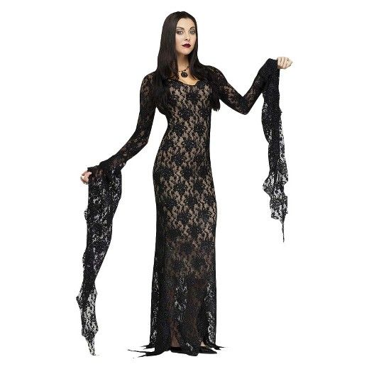 • Polyester construction for reliable fit and feel<br>• One-piece costume for complete, easy look<br><br>The elegance of the Women's Lace Morticia Dress Costume is always a classic. Embrace the night with a Halloween costume that is a luxe lace masterpiece.