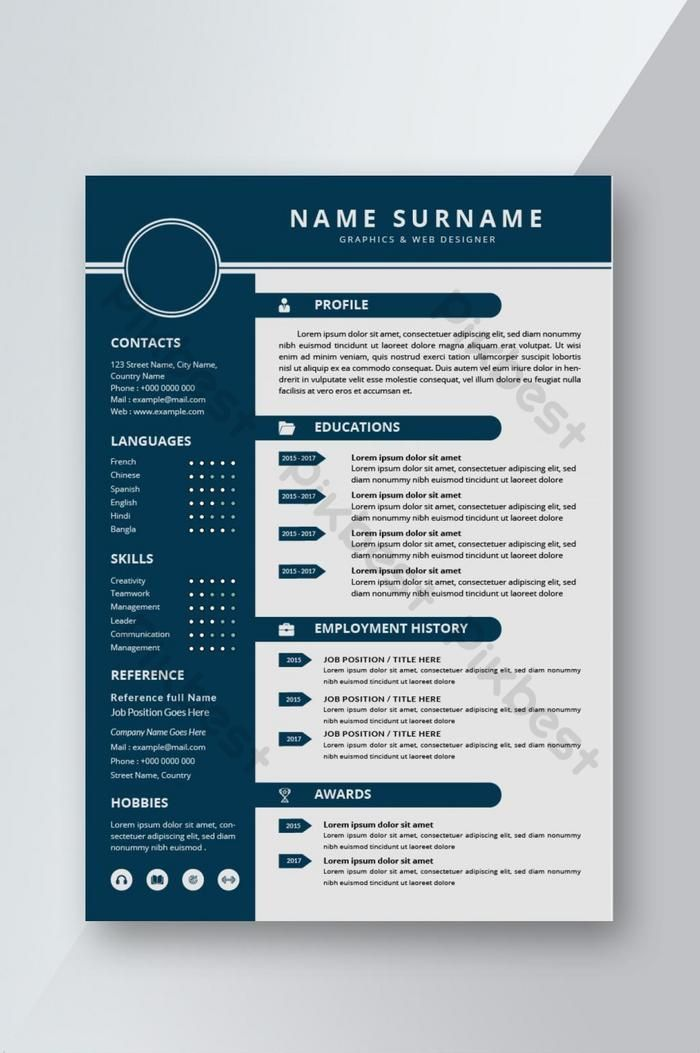 Simple Modern Resume CV template design for interview ...