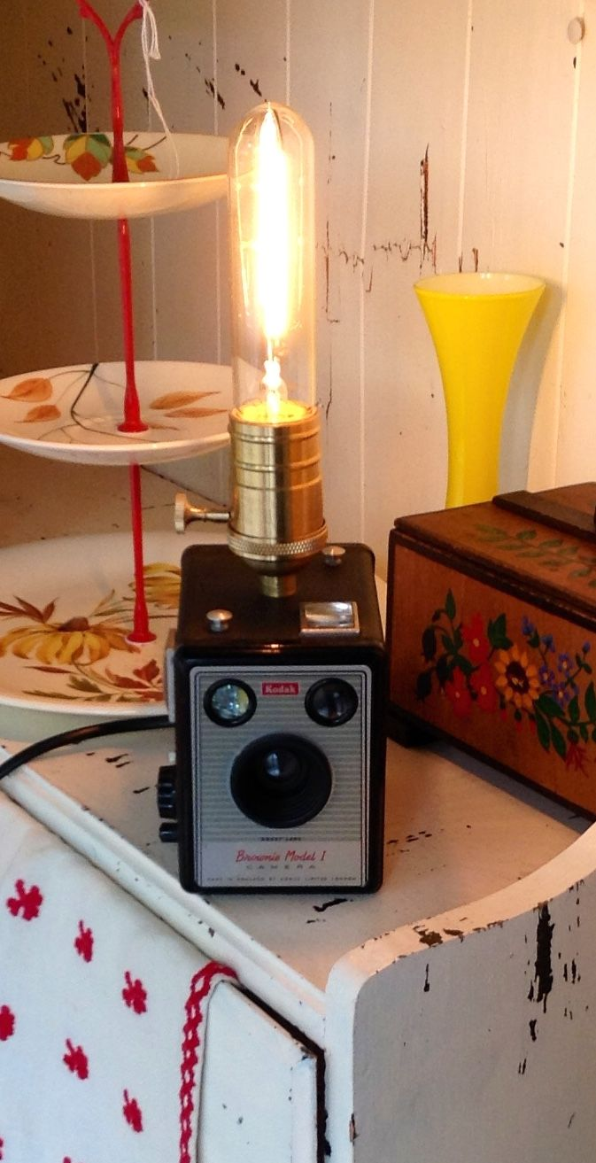 My Box Brownie Lamp, in front of my sister's gorgeous cake stand.