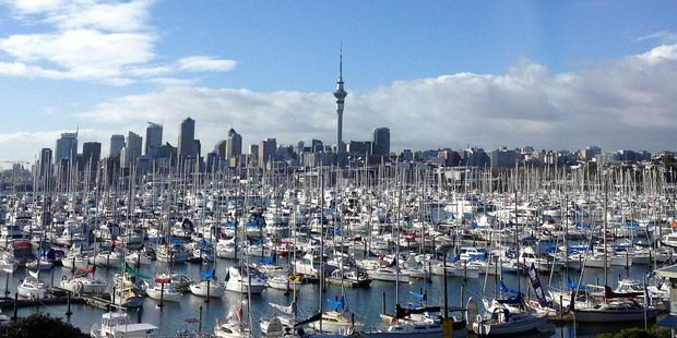A view from the Auckland Harbour Bridge across Westhaven marina to Auckland City