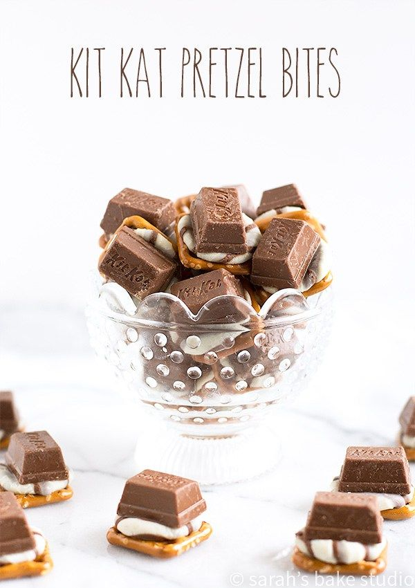 Kit Kat Pretzel Bites – crunchy pretzel snaps, sweet Hershey's Hugs, and chocolate-y Kit Kat Minis make this easy-peasy, sweet and salty treat out of this world delicious!