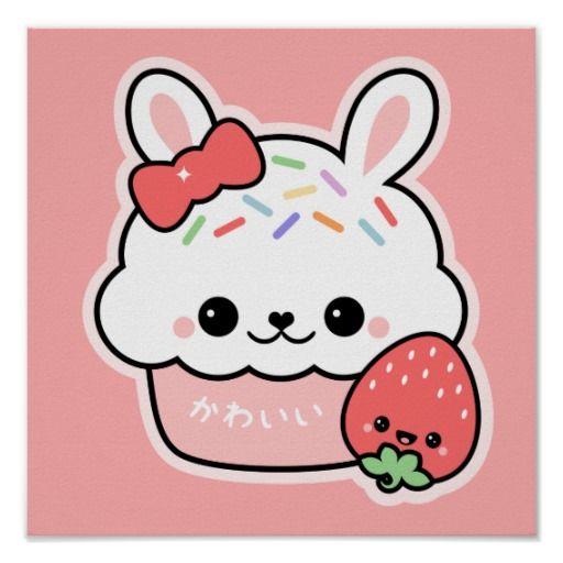 Super cute bunny cake with happy strawberry friend!