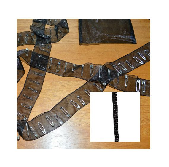 Safety Pin Trim  2 Yards  Black Sheer  1 x 72  by chapeaunoir