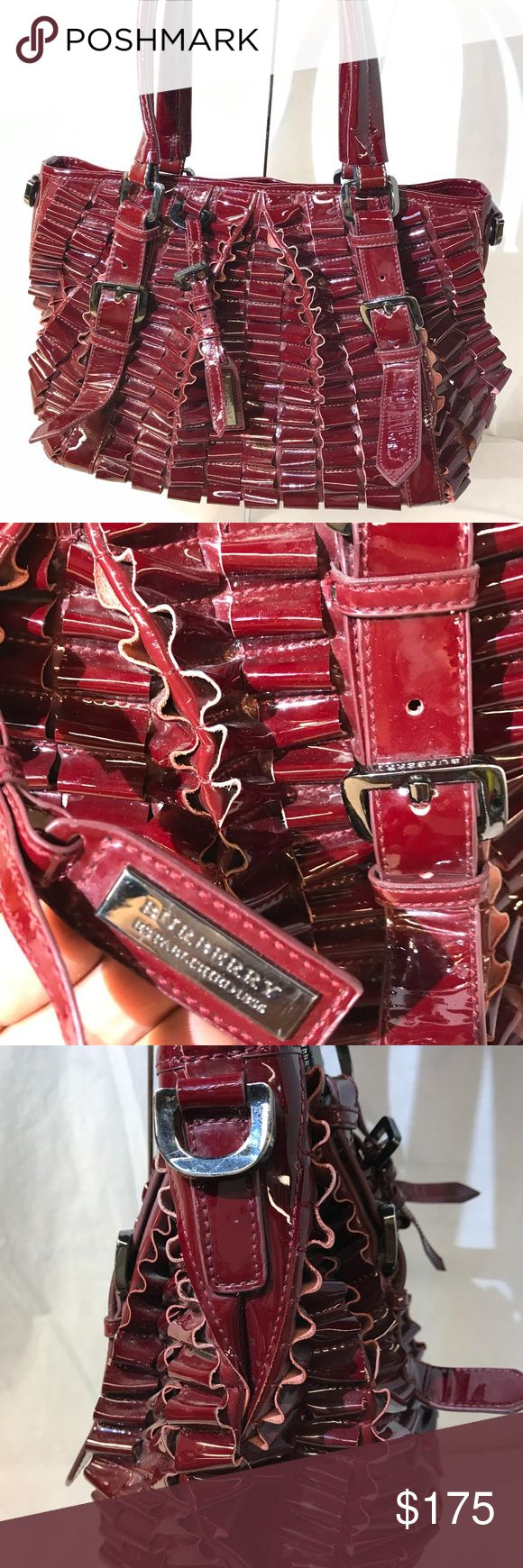 """Burberry pvc vinyl faux leather burgundy hand bag SIZE 13""""/9""""/7"""". 8"""" drop..Pre owned excellent condition light wear. One loop is loose at the very bottom. Needs re stitching. Burberry Bags Satchels"""