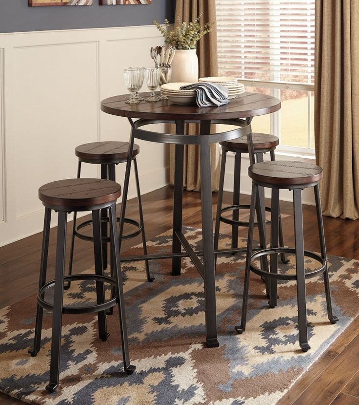 Wood Plank 5 Piece Pub Table Set
