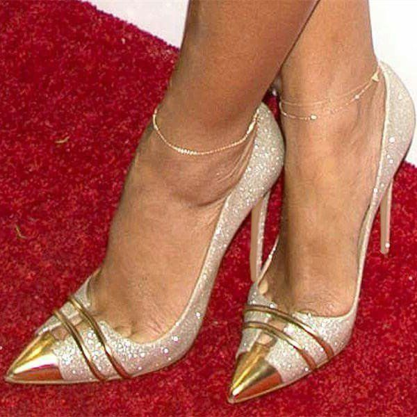 Silver and Gold Glitter Shoes Stiletto Heel Evening Pumps image 1 #partyoutfits